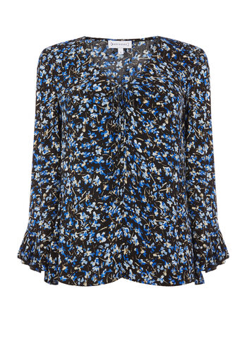 Warehouse, MINI MARIGOLD TOP Blue Pattern 0