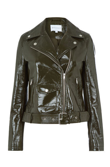 Warehouse, PATENT FAUX LEATHER BIKER Khaki 0