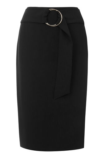 Warehouse, O RING MIDI SKIRT Black 0