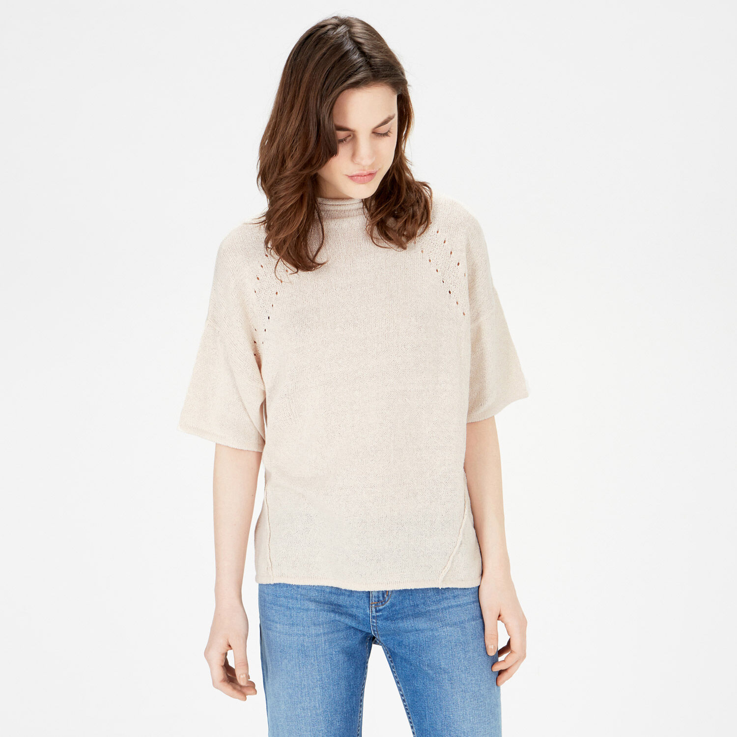 Warehouse, BOXY LINEN KNITTED TOP Cream 1