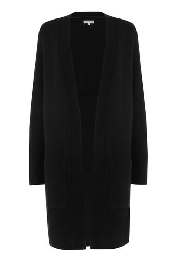 Warehouse, SOFT LONG LINE CARDI Black 0
