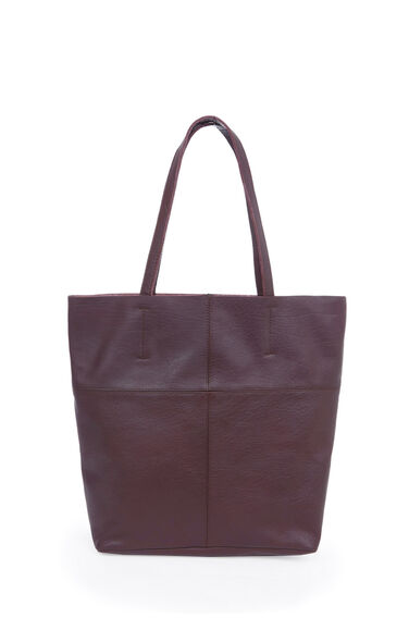 Warehouse, LEATHER UNLINED SHOPPER BAG Berry 0