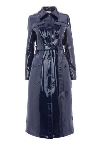 Warehouse, PATENT TRENCH COAT Navy 0