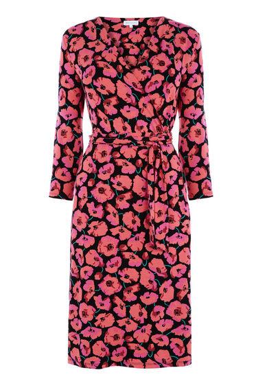Warehouse, POPPY PRINTED WRAP DRESS Multi 0