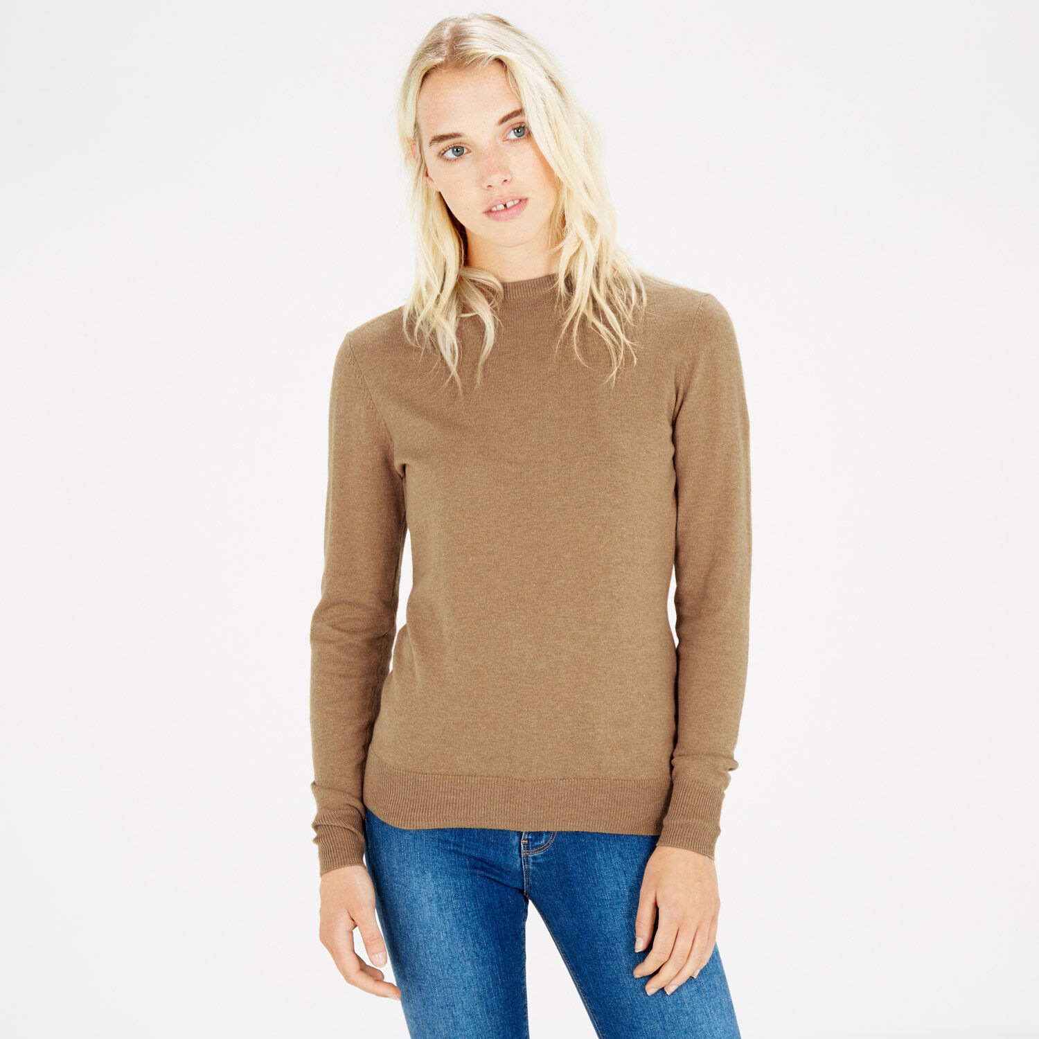 Warehouse, CREW JUMPER Camel 1