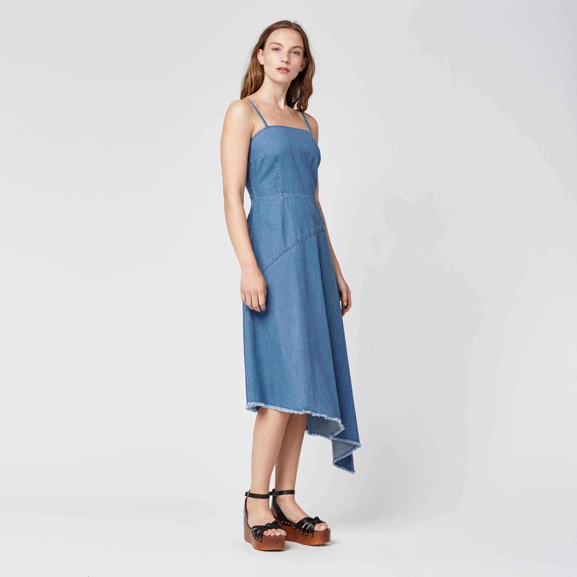 Warehouse, Asymmetric Drapey Dress Mid Wash Denim 1