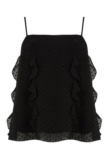 Warehouse, RUFFLE SPOT CAMI TOP Black 0