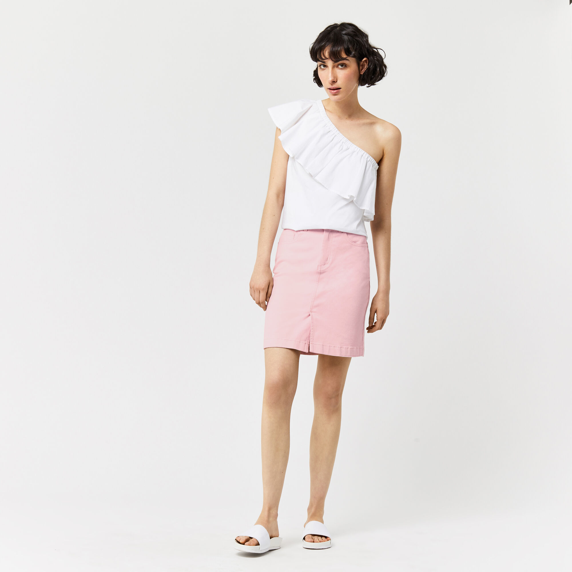 Warehouse, Split Front Denim Skirt Light Pink 1