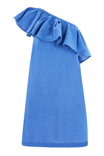 Warehouse, RUFFLE ONE SHOULDER DRESS Bright Blue 0