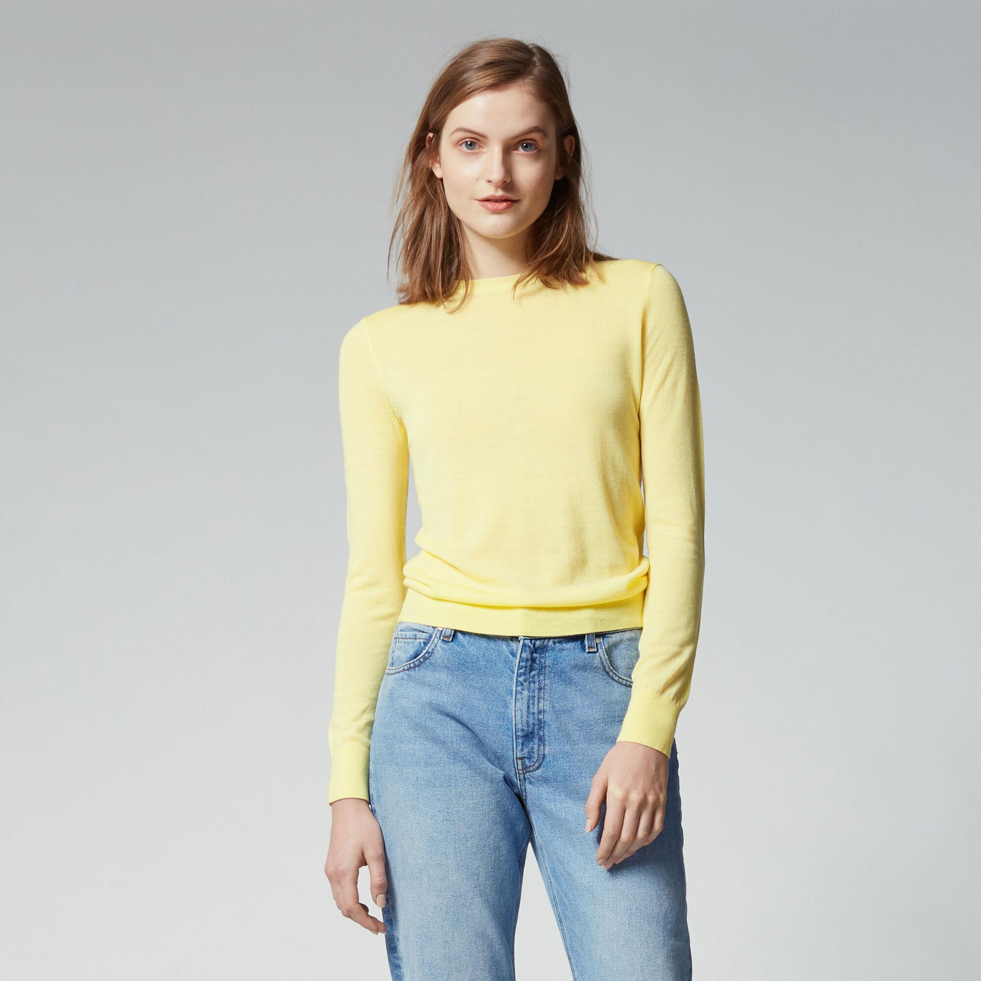 Warehouse, WOOL CREW JUMPER Lemon 1