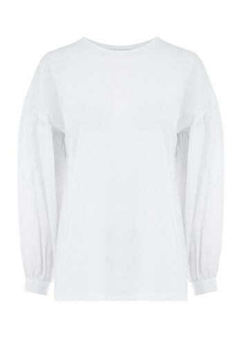 Warehouse, BALLOON SLEEVE WOVEN MIX TOP White 0