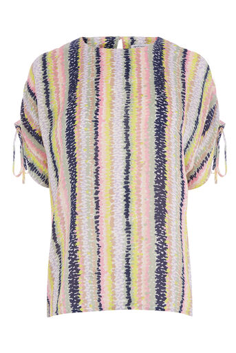 Warehouse, DASH STRIPE RUCHED SLEEVE TOP Pink Stripe 0