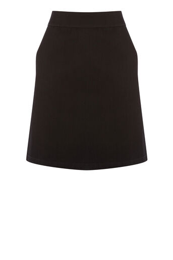 Warehouse, A LINE DENIM SKIRT Black 0