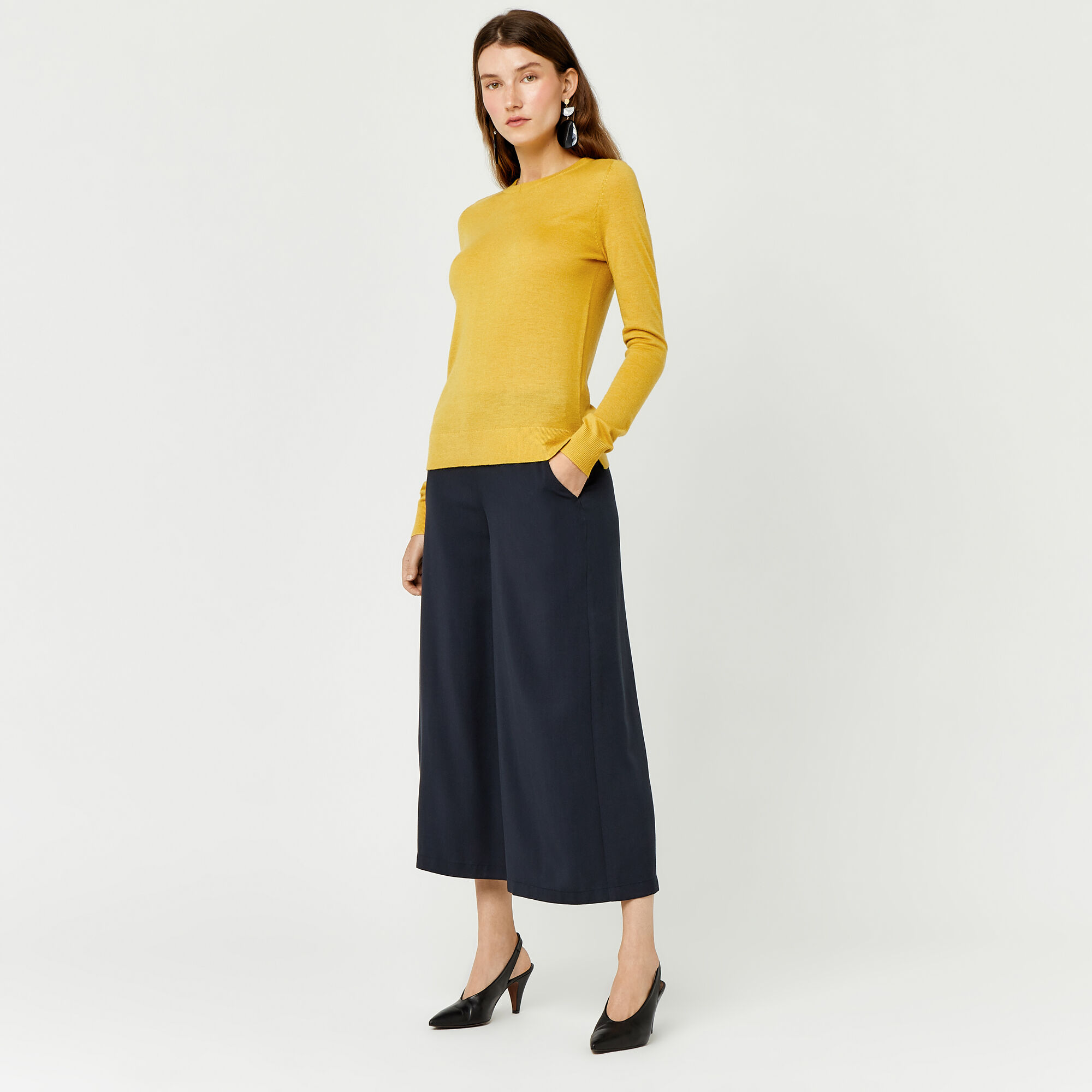 Warehouse, CREW JUMPER Mustard 1