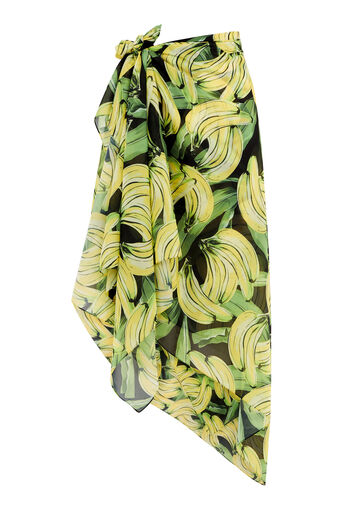 Warehouse, BANANA PRINT 3 WAY COVER UP Black Pattern 0