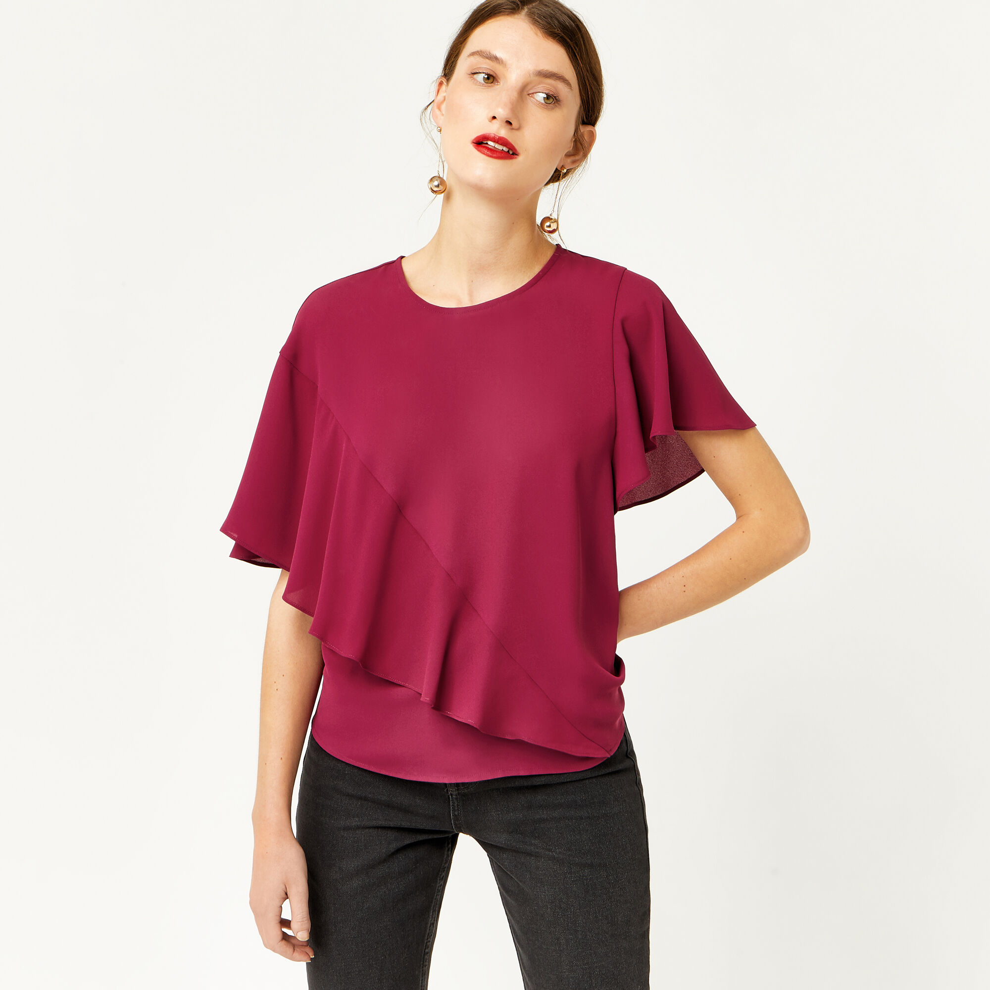 Warehouse, RUFFLE T-SHIRT Dark Pink 1