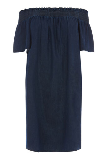 Warehouse, Ruched Dress Mid Wash Denim 0