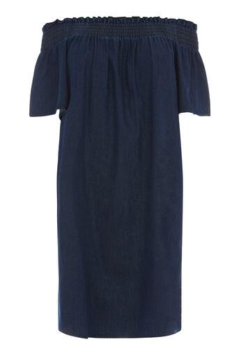 Warehouse, Geruchede jurk Midwash denim 0