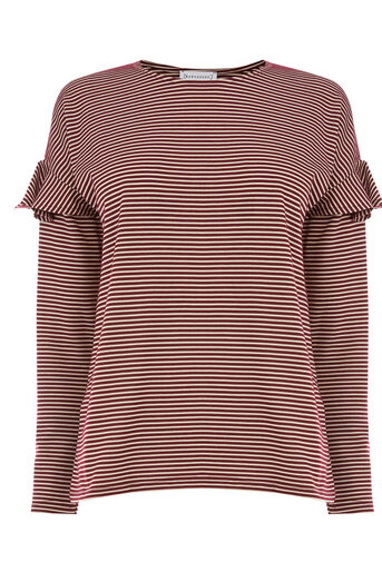 Warehouse, STRIPE FRILL LONG SLEEVE TOP Red Stripe 0