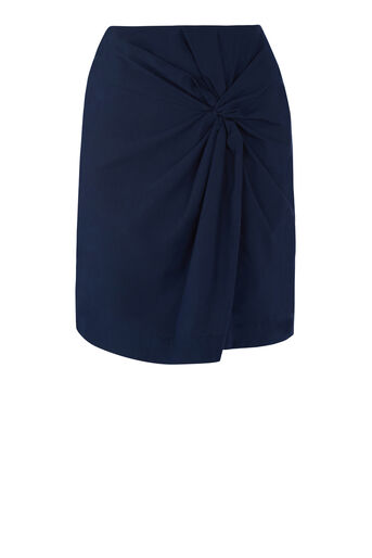 Warehouse, COTTON KNOT DETAIL SKIRT Navy 0