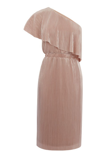 Warehouse, FOIL PLISSE ONE SHOULDER DRESS Light Pink 0