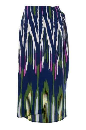 Warehouse, Wikkelrok met kleurrijke ikatprint Marineblauw 0