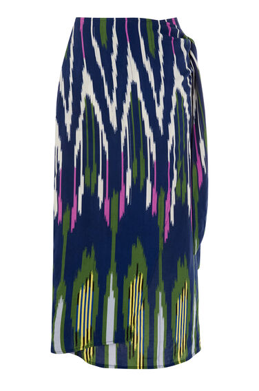 Warehouse, RAINBOW IKAT TIE FRONT SKIRT Navy 0