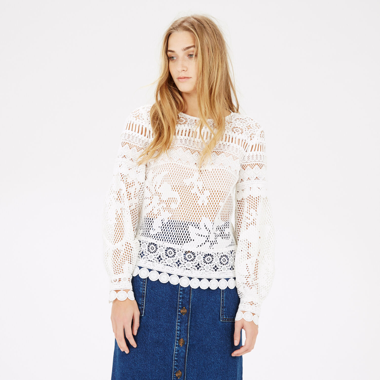 Warehouse, PANELLED LACE TOP White 1