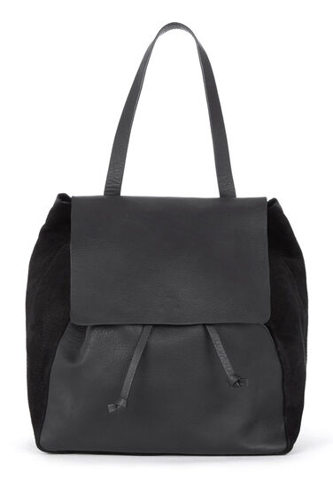 Warehouse, Leather Panelled Rucksack Black 0