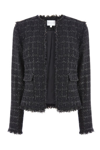 Warehouse, SPARKLE TWEED JACKET Black 0