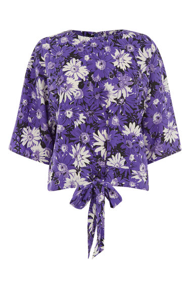 Warehouse, ASTER FLORAL TOP Purple Pattern 0