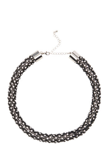 Warehouse, ALL OVER BOLSTER NECKLACE Black 0