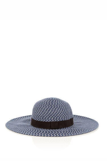 Warehouse, Mixbraid Floppy Hat Blue Pattern 0