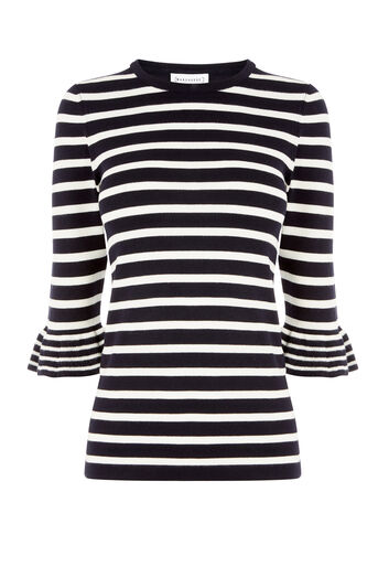 Warehouse, STRIPE FRILL CUFF JUMPER Navy 0
