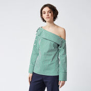 Warehouse, STRIPE BOAT NECK TOP Green Stripe 1
