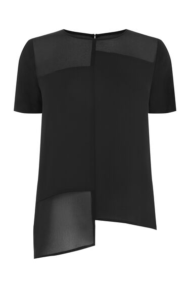 Warehouse, STEPPED HEM CHIFFON MIX TEE Black 0