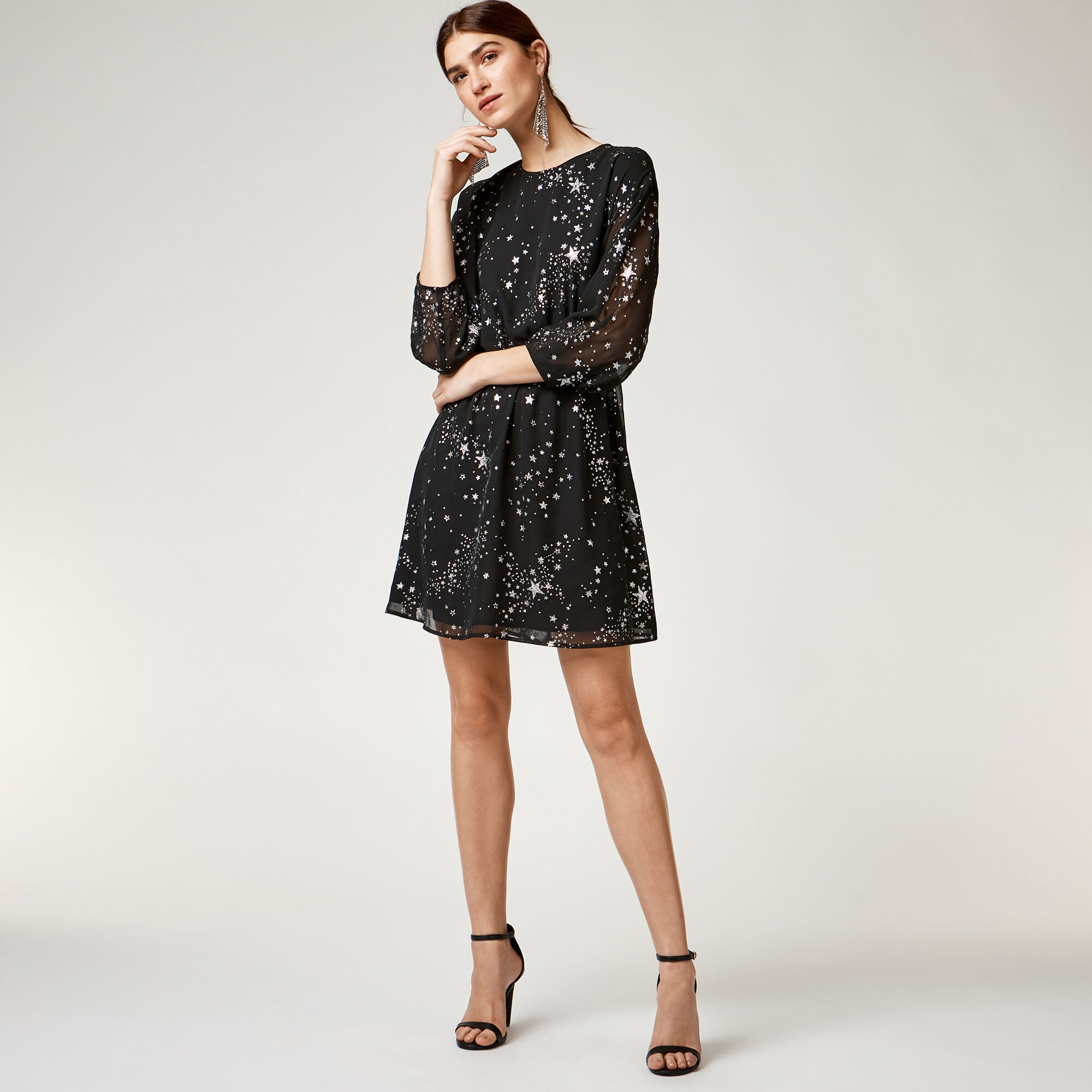 Warehouse, SPARKLE STAR DRESS Black Pattern 1