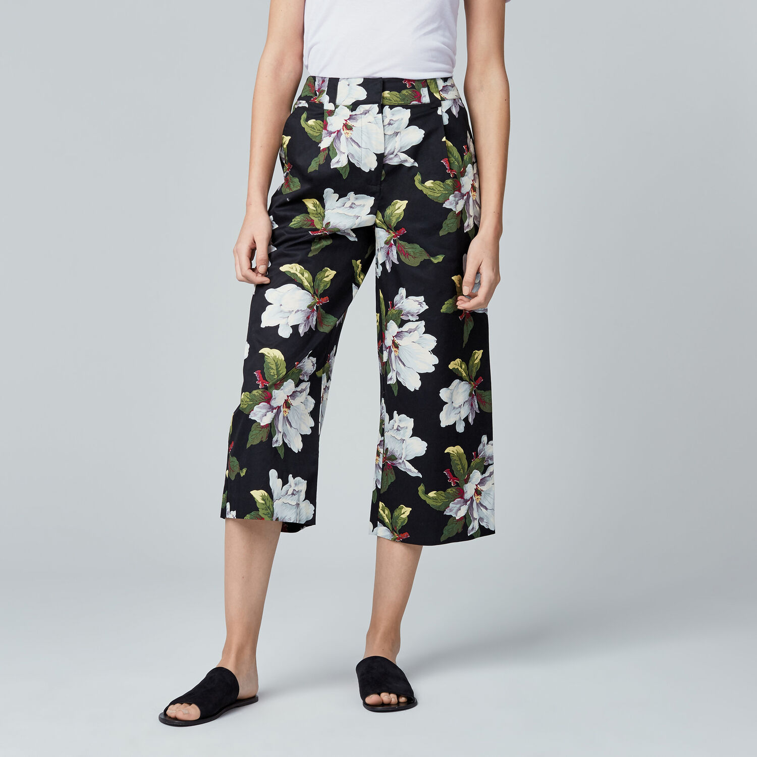 Warehouse, MAGNOLIA CULOTTES Black Pattern 1