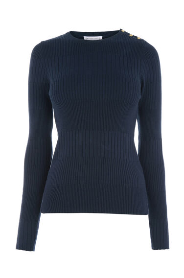 Warehouse, BUTTON SHOULDER RIB JUMPER Navy 0