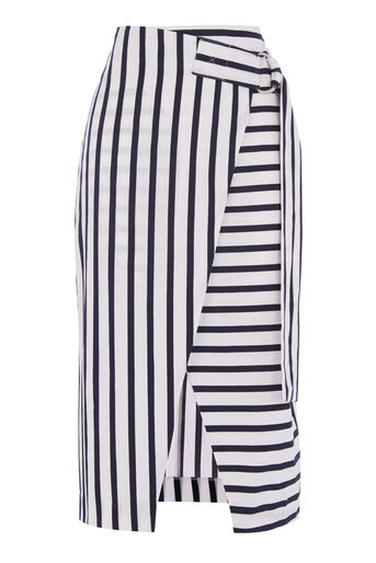 Warehouse, STRIPE WRAP MIDI SKIRT Blue Stripe 0