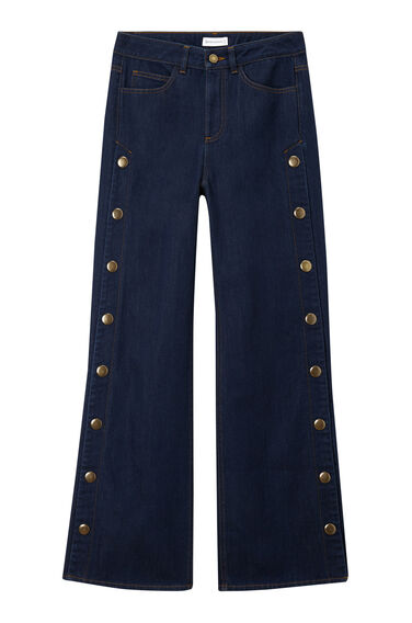 Warehouse, Wide Leg Popper Jeans Indigo Denim 0