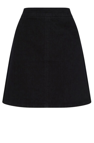 Warehouse, Denim Pelmet Skirt Black 0