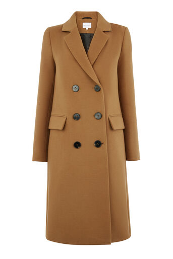 Warehouse, DOUBLE BREASTED CROMBIE COAT Camel 0