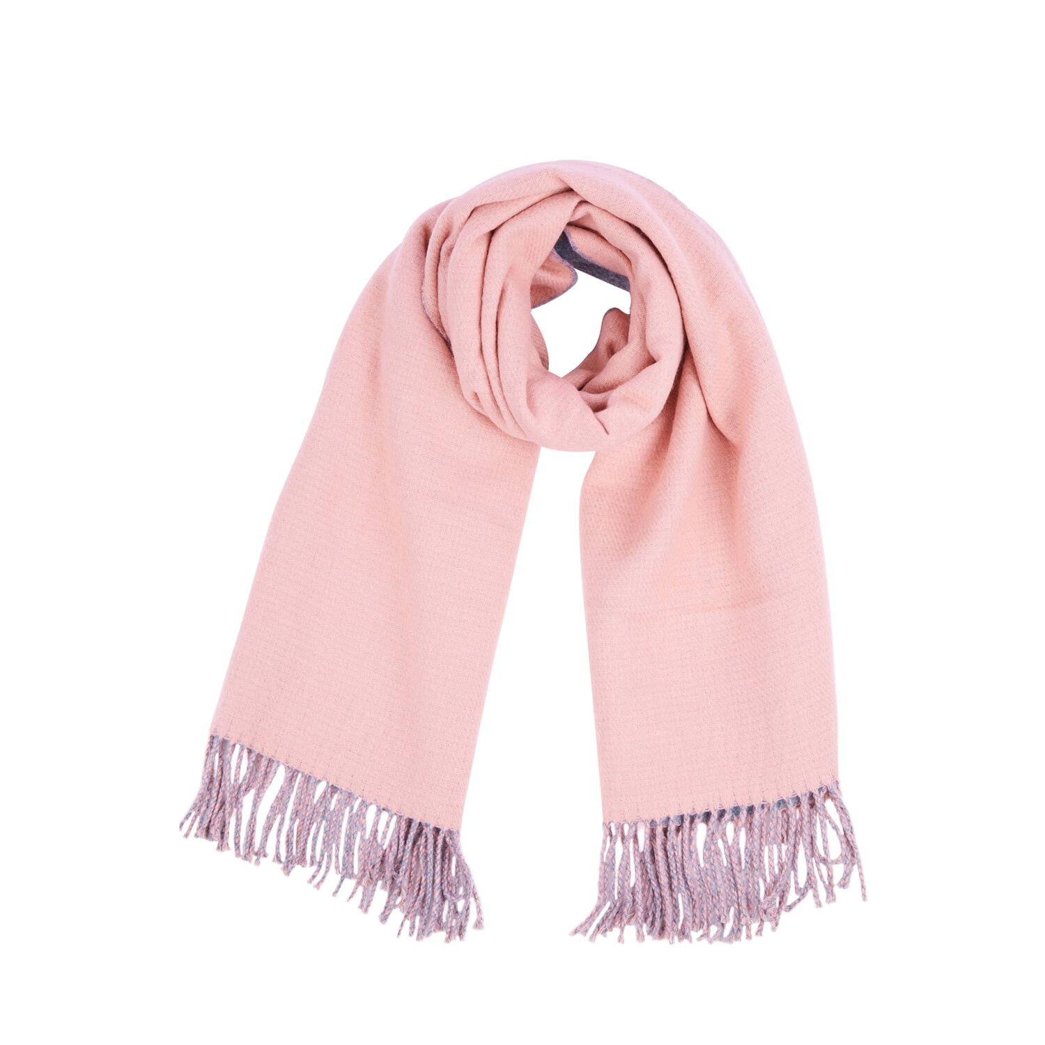 Warehouse, TWO TONE REVERSIBLE SCARF Light Pink 1