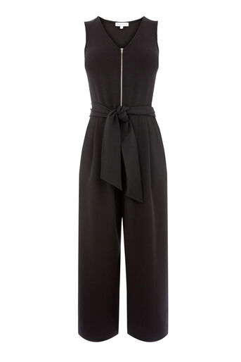 Warehouse, ZIP FRONT CREPE JUMPSUIT Black 0