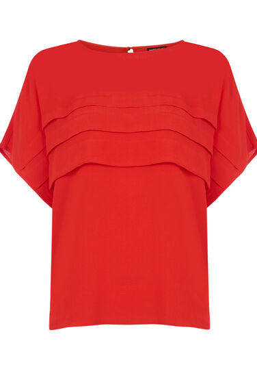 Warehouse, PLEAT FRONT TOP Bright Red 0