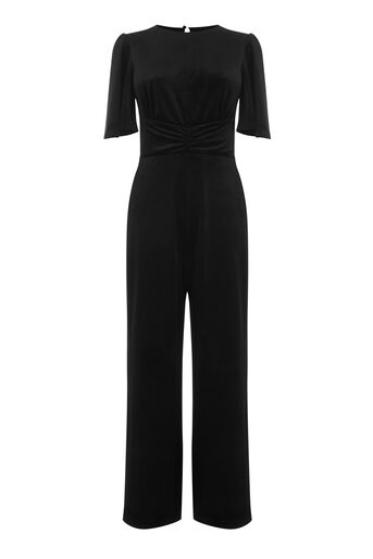 Warehouse, VELVET WIDE LEG JUMPSUIT Black 0