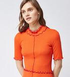 Warehouse, MINI RIB FRILL DRESS Bright Red 4