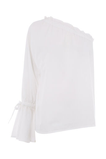 Warehouse, ONE SHOULDER COTTON TOP White 0