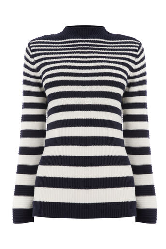 Warehouse, GRADUATED STRIPE BUTTON JUMPER Navy 0